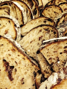 Slices of Fermented Raisin - Red Fife Whole Wheat loaves.