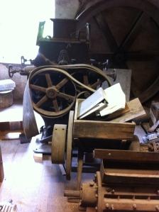 Antique machinery, salvaged by Fischer's grandfather