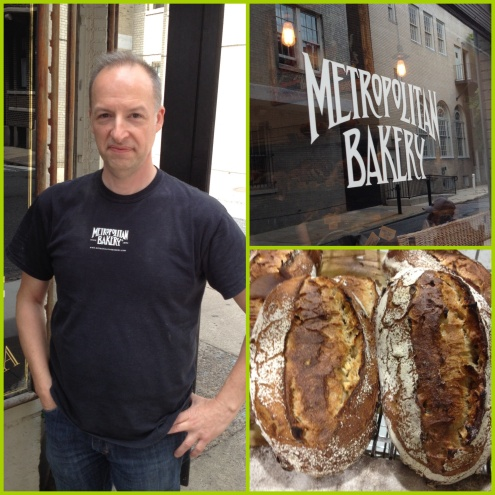 James Barrett standing proudly in front of his bakery/cafe on 19th Street at Rittenhouse Square. Apple Cider Loaves.