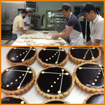 Michael, Chris, Andrew and Pat putting in work on  the bench. Chocolate Rye Tarts.